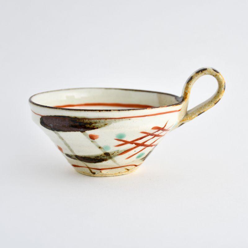 画像1: 赤絵格子紋片手スープ碗 南窯 (1)