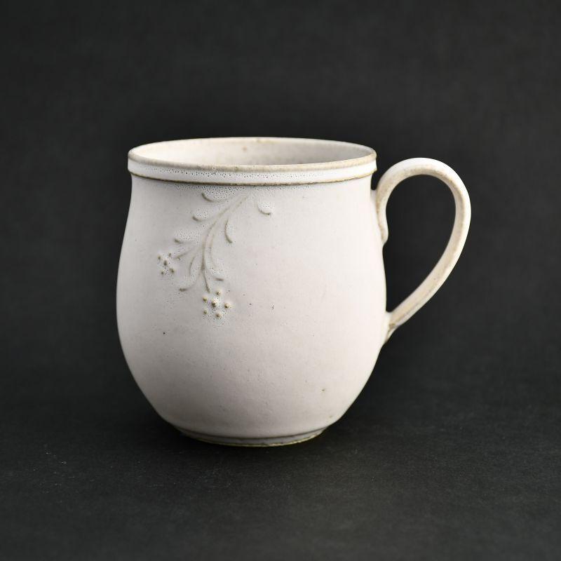 画像1: ウルトラ白 かざ花 丸マグカップ 藤山窯 (1)
