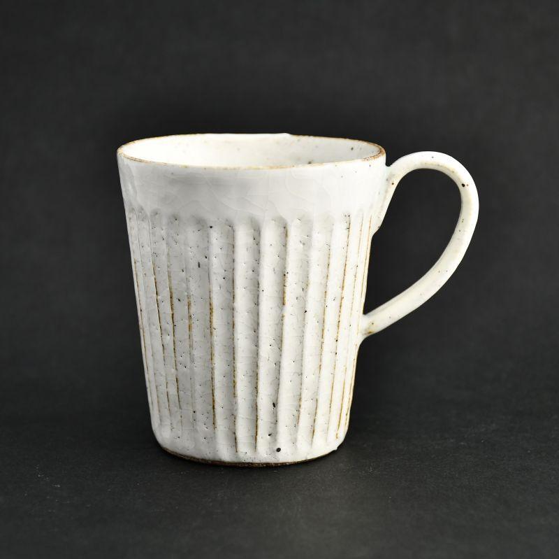 画像1: 粉引(細しのぎ) 切立マグカップ 藤山窯 (1)